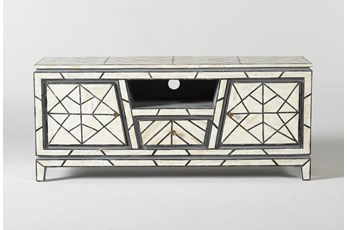 "Black + White Bone Inlay Geo Print Small 56"" Media Console"