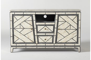 "Black + White Bone Inlay Geo Print 56"" Media Console"