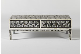 Black + White Bone Inlay Geo Print Coffee Table