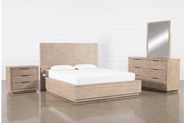 Pierce Natural Queen Panel 4 Piece Bedroom Set