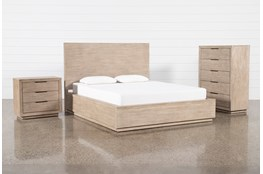Pierce Natural Eastern King Panel 3 Piece Bedroom Set