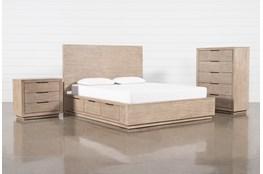 Pierce Natural Eastern King Storage 3 Piece Bedroom Set