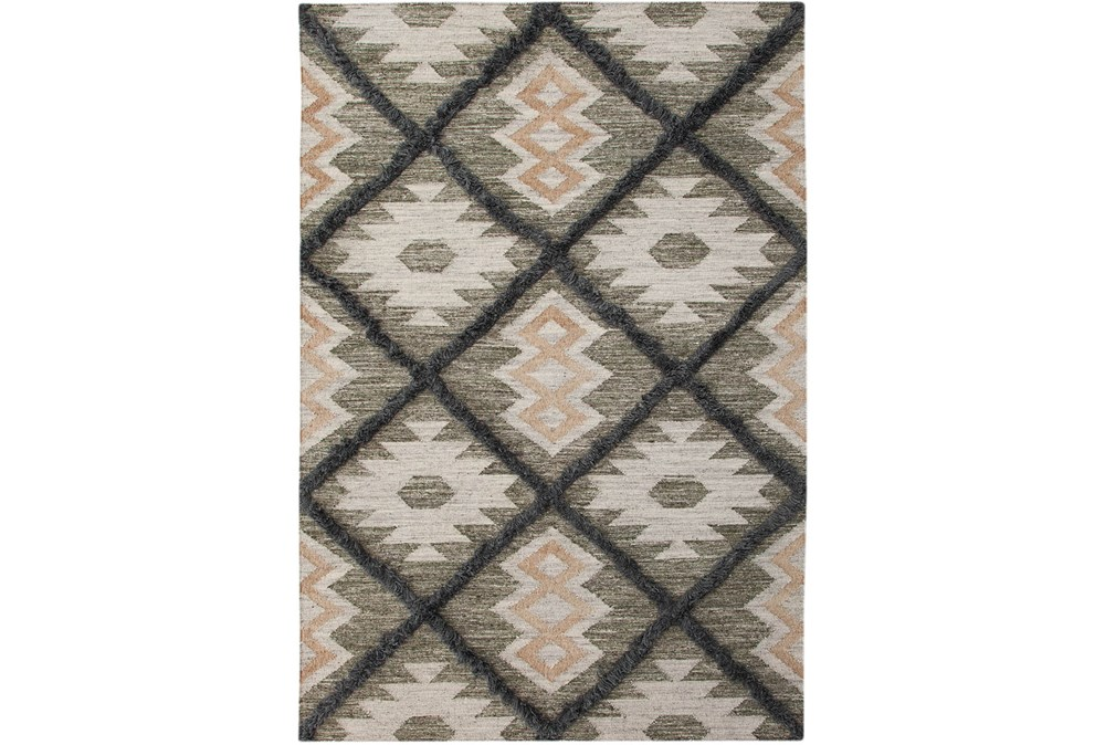60X96 Rug-Charcoal & Black Totem Triangle