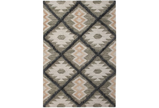 60X96 Rug-Charcoal & Black Totem Triangle  - 360