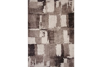 63X90 Rug-Charcoal & Ivory Shaggy Abstract Blocks