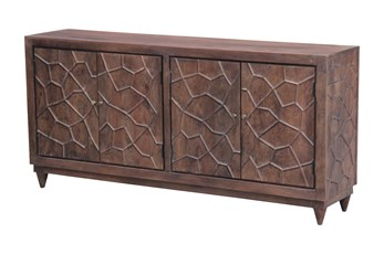 "Chocolate Brown Hammered 4 Door 80"" Sideboard"
