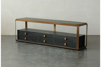 "Black Oak + Bronze Three Drawer 69"" Media Stand"