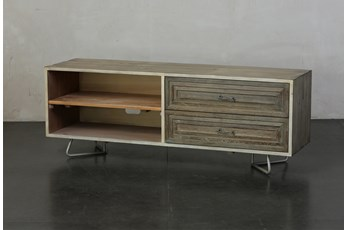 """Weathered + Antique White 2 Drawer Open Shelf 59"""" TV Stand"""