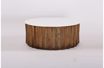 White Marble + Wood Round Coffee Table