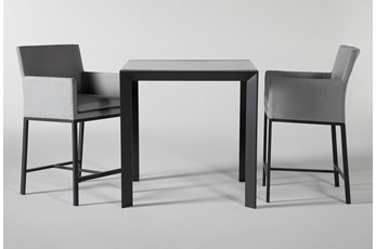 Ravelo Outdoor Square Bar Table With Upholstered Counter Stools