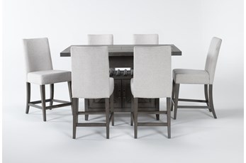 Concord 7 Piece Extension Counter Set With Upholstered Back Stools