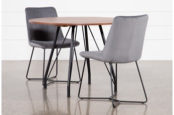 Vine Drop Leaf 3 Piece Dining Table With Sable Grey Chairs