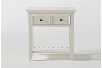 "Presby White Open 29"" Nightstand With USB"