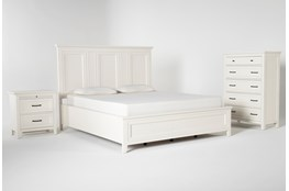Presby White California King Panel 3 Piece Bedroom Set
