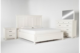 Presby White California King Panel 4 Piece Bedroom Set