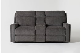 "Hewitt Grey 74"" Power Reclining Console Loveseat With USB"