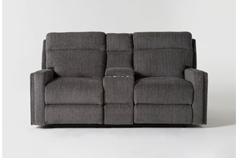 """Hewitt Grey 74"""" Power Reclining Console Loveseat With USB"""
