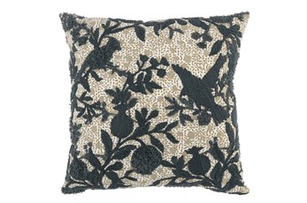 Accent Pillow-Bay Green Embroidered Bird 22X22