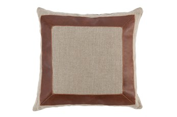 Accent Pillow-Cognac Leather Border 22X22