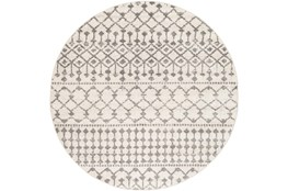 94 Inch Round Rug-Dot Geometric Grey