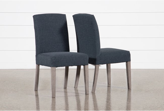 Garten Cobalt Dining Side Chairs With Greywash Finish Set Of 2 - 360
