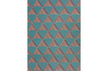 98X120 Outdoor Rug-Sails Aqua/Red