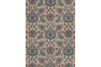 61X84 Outdoor Rug-Bouquet Orange/Blue