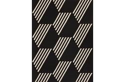 61X84 Outdoor Rug-Hex Black/White