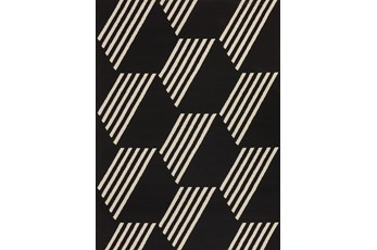 61X84 Outdoor Rug-Hex Black/White