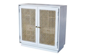 White Wash Wine Cabinet With Cane Doors