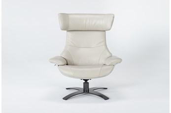 Raiden Mushroom Grey Leather Reclining Swivel Chair