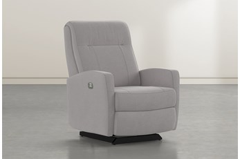 Dale IV Ash Fabric Power Rocker Recliner With Power Headrest
