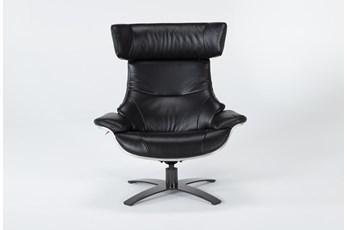 Raiden Black Leather Reclining Swivel Chair