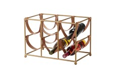 Gold Metal + Leather Strap Wine Rack
