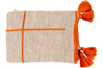 Ca Accent Throw-Orange Knit Tassel Grid