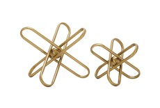 Gold Wired Sculpture Orb Set Of 2