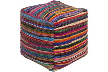Pouf-Courtney Multicolor Stripes
