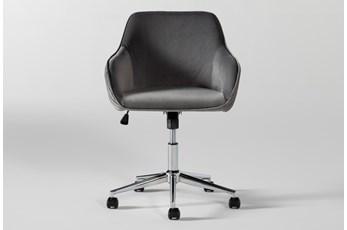 Robyn Grey Velvet Desk Chair