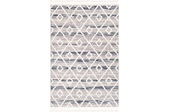 94X122 Rug-Globally Inspired High/Low Pile With Fringe Navy/Grey/Black