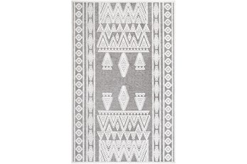 79X108 Rug-Global Inspired Chenille-Cotton Grey/Ivory
