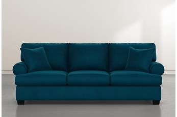 "Brody 93"" Teal Blue Velvet Sofa"
