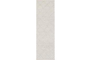 30X96 Rug-Wool And Viscose Lattice Grey