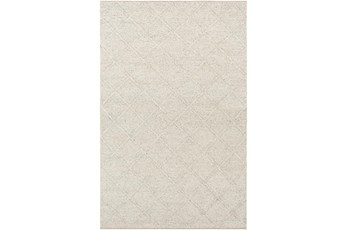 72X108 Rug-Wool And Viscose Lattice Grey