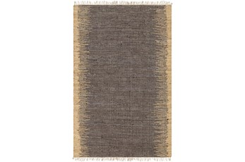 96X120 Rug-Leather And Jute With Fringe Brown/Wheat