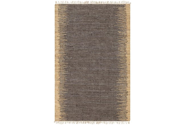 96X120 Rug-Leather And Jute With Fringe Brown/Wheat - 360