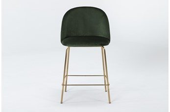 "Ava Emerald Green Velvet 25"" Counter Stool"
