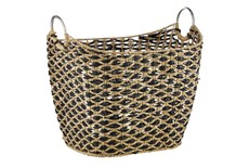 Large Black And Seagrass Diamond Basket