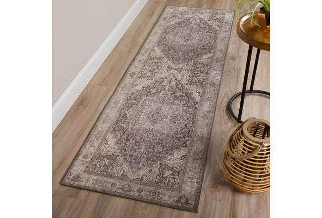 27X90 Rug-Traditional Lustre Sheen Taupe - 360