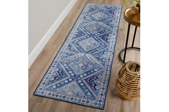 27X90 Rug-Diamond Traditional Lustre Sheen Denim