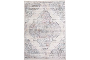 120X168 Rug-Multi Faded Medallion Cream